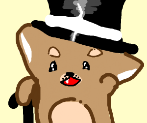 Shiba Inu with tophat and cane