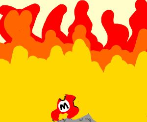 Mario burning the Mushroom Kingdom