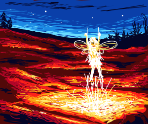 The fairy dances by the fire pool tonight