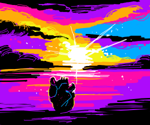 Heart watching a fairy tale sunset