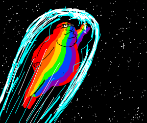 fat rainbow man goes hyperspeed in space