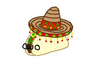 This kawaii taco is wearing a sumbrero. Ole!
