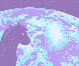 Purple pony looking at Earth