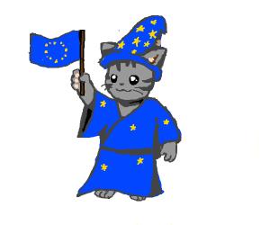 wizard kitten holding an EU flag.