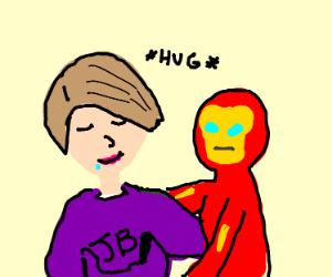 Justin Bieber in lipstick hugging iron man