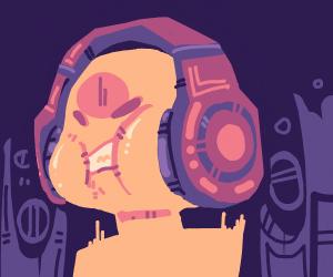 Huge headphones squishing someone's face