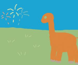 Dinosaur watches fireworks