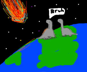 Dino saying 'Bruh' as asteroid falls from sky