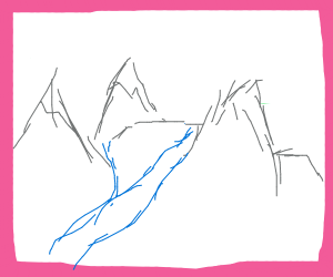 A drawing of a sketch of a mountain landscape