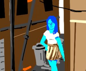 blue girl in ally
