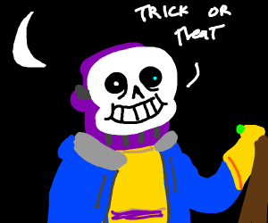 Thanos dressed as Sans for halloween