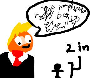 Donald trump talking to a short guy