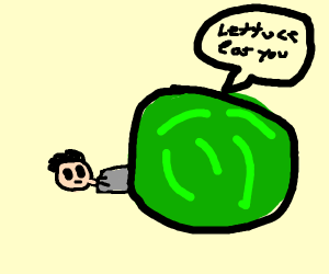 A man being consumed by lettuce
