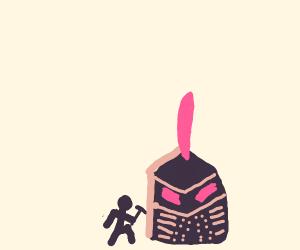 Mining a giant knight helmet