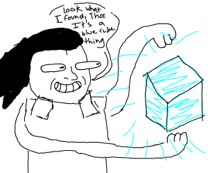 Loki finds a blue cube thing