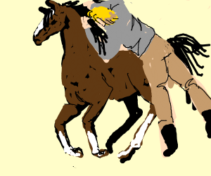 man jumps onto horse