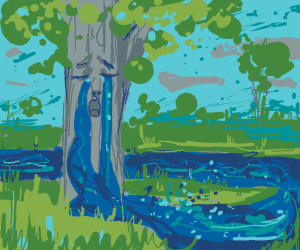 A tree is crying a river