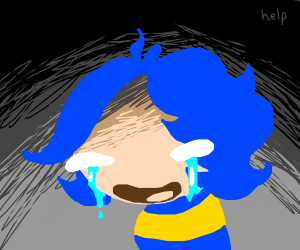 Blue haired chibi crying existential crisis