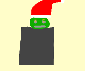 Santa grinch in trashcan