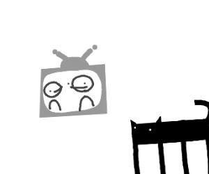 A cat watching a cartoon on tv