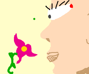 Someone with one eye and flower of fucsia