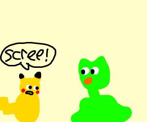 Pikachu screeching at longnecked Duolingo owl