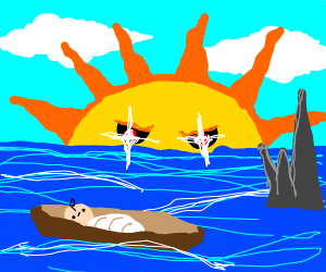 Baby in a boat, spikes in the water, evil Sun