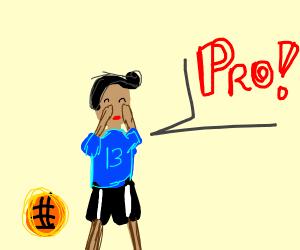 basketball player 13 yells PRO!