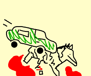 Bloody Zebra Ran Over By A Green Car