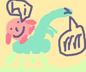 kirby rides a dinosaur