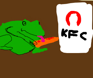 frog licking chicken tendie with ketchup
