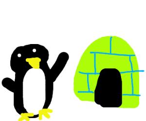 Penguin worships green futuristic igloo