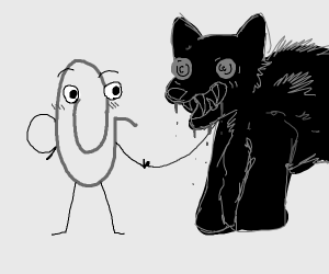 clippy walks his dog monster thing