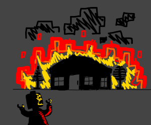 Lego man's house is burning down