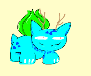 demented blue bulbasaur with antlers j