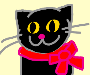 black cat with red ribbon