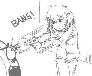 Girl shooting an onion monster