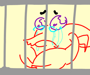 A sad caged up lobster with purple eyes