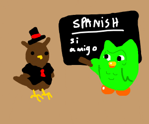 fancy dressed owl takes spanish lesson