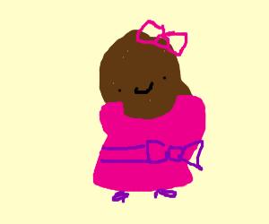 Poop wearing a pink dress