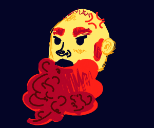 man with red beard who's angry