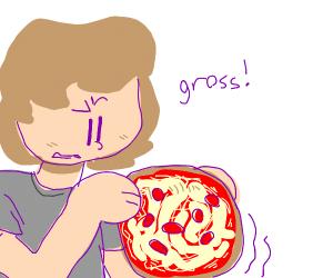 a flimsy pepperoni pizza