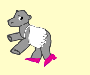 cute hippo in a white dress and pink heels