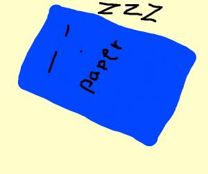 A blue sheet of paper sleeping