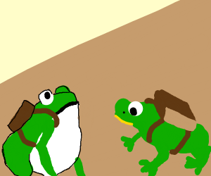 two frogs with a bag