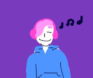 Happy in headphones and a hoodie
