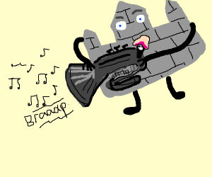 Castle playing tuba