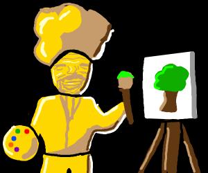 shiny gold bob ross draws a tree