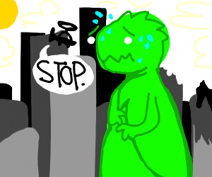 Man talk to giant monster stop attack city