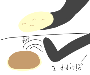 A man flips pancakes with his foot